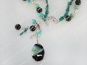 double strand black agate and phonix stone necklace