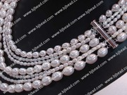 decent multi strand pink pearl bridal necklace 17-19.5 inches
